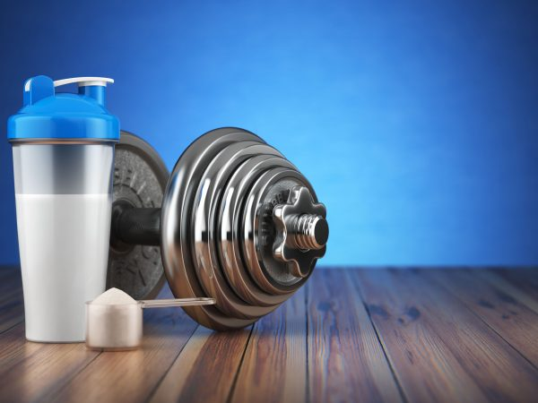 64134032 – dumbbell and whey protein shaker. sports bodybuilding supplements or nutrition. fitness or healthy lifestyle concept. 3d illustration