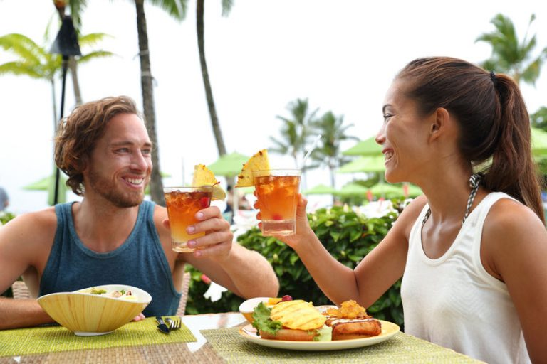 Couple taking food outdoors